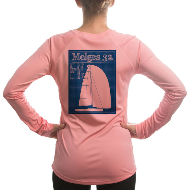 Melges 32 Class Sailboat Womens Upf 5+ Uv/sun Protection Long Sleeve T-Shirt Large / Pretty Pink Shirt
