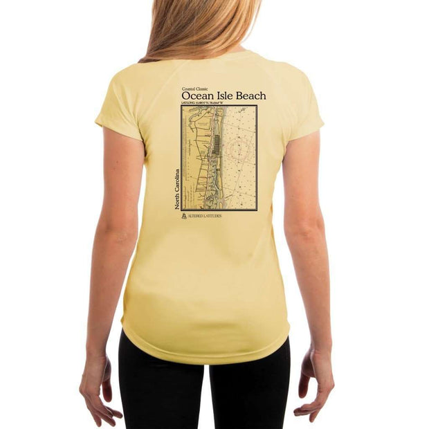 Coastal Classics Ocean Isle Beach Womens Upf 5+ Uv/sun Protection Performance T-Shirt Pale Yellow / X-Small Shirt