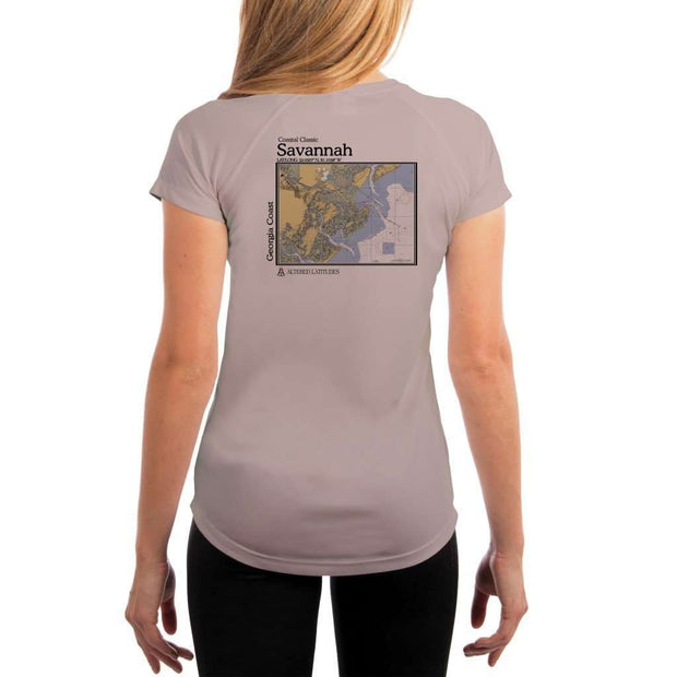 Coastal Classics Savannah Georgia Coast Womens Upf 5+ Uv/sun Protection Performance T-Shirt Athletic Grey / X-Small Shirt