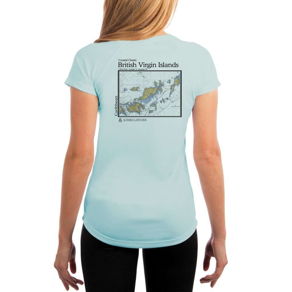 Coastal Classics British Virgin Islands Womens Upf 50+ Uv/sun Protection Performance T-Shirt Arctic Blue / X-Small Shirt