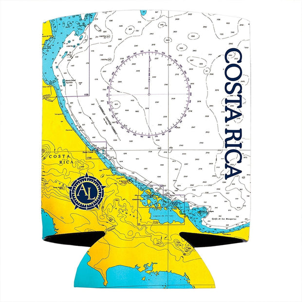 Altered Latitudes Costa Rica Chart Standard Can Cooler (4-Pack)