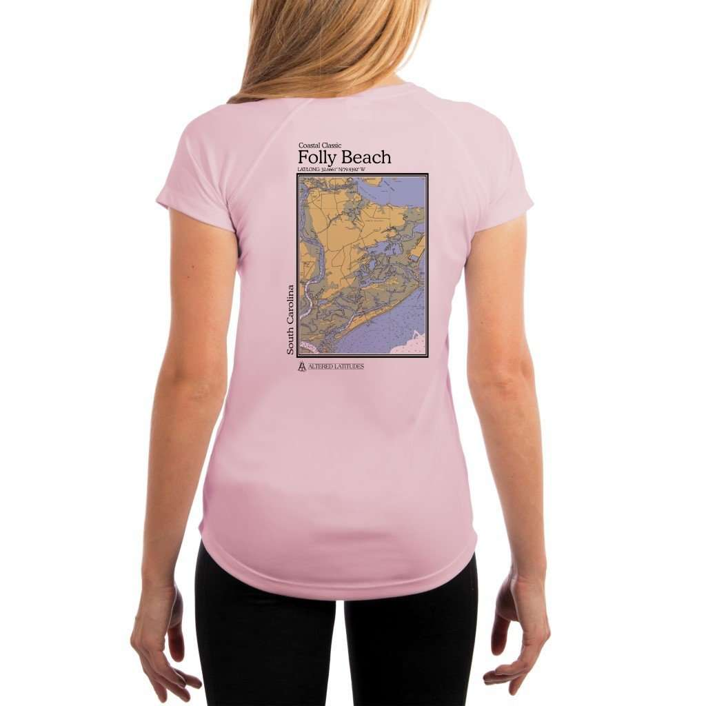 Coastal Classics Folly Beach Womens Upf 50+ Uv/sun Protection Performance T-Shirt Pink Blossom / X-Small Shirt