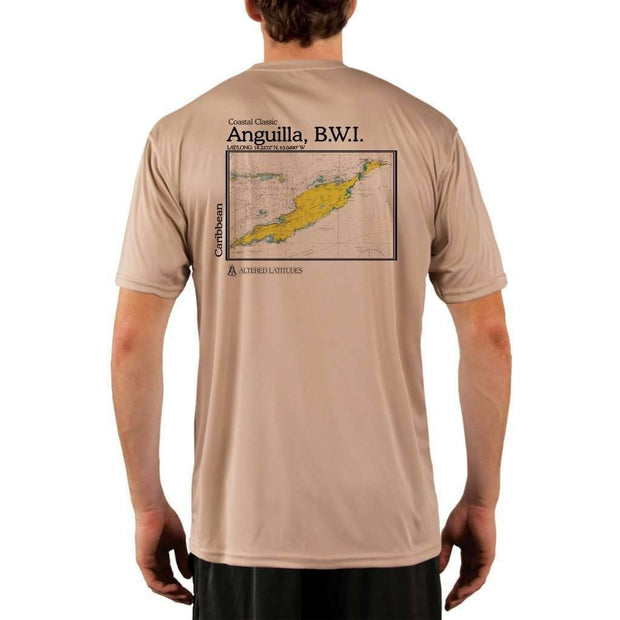 Coastal Classics Anguilla B.w.i. Mens Upf 5+ Uv/sun Protection Performance T-Shirt Tan / X-Small Shirt