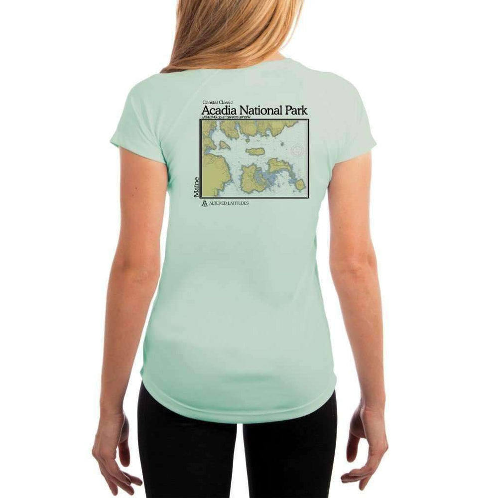 Coastal Classics Acadia National Park Womens Upf 5+ Uv/sun Protection Performance T-Shirt Seagrass / X-Small Shirt