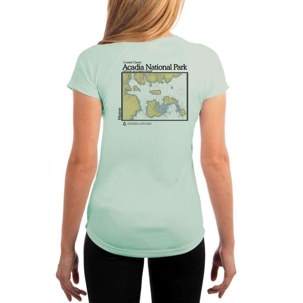 Coastal Classics Acadia National Park Womens Upf 50+ Uv/sun Protection Performance T-Shirt Seagrass / X-Small Shirt
