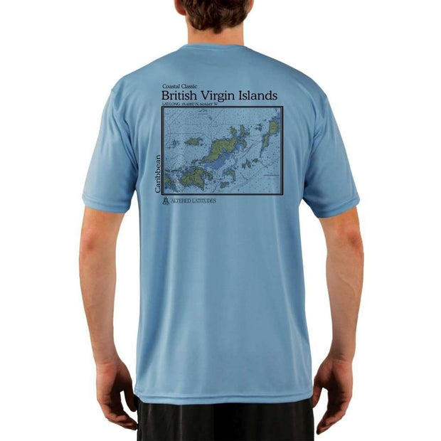 Coastal Classics British Virgin Islands Mens Upf 5+ Uv/sun Protection Performance T-Shirt Columbia Blue / X-Small Shirt