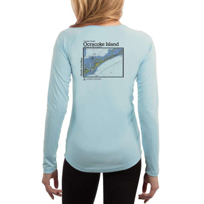 Coastal Classics Ocracoke Island Womens Upf 5+ Uv/sun Protection Performance T-Shirt Arctic Blue / X-Small Shirt