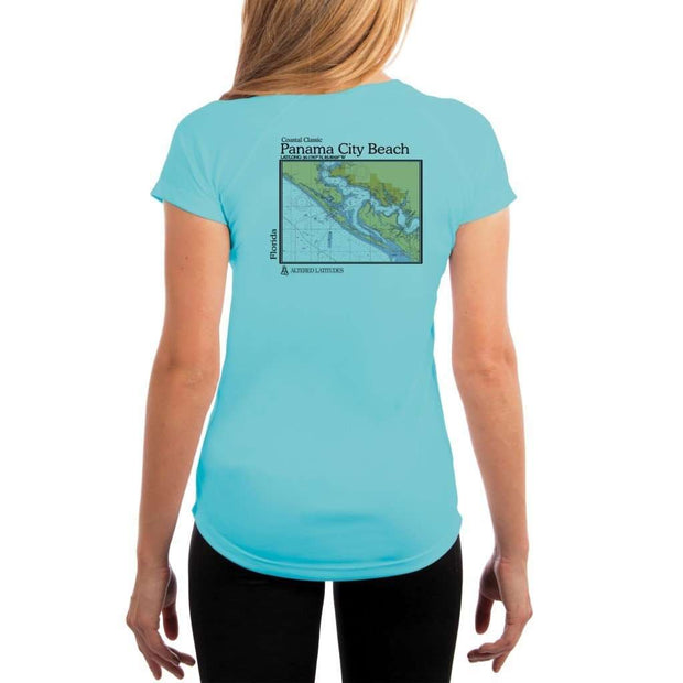Coastal Classics Panama City Beach Womens Upf 5+ Uv/sun Protection Performance T-Shirt Water Blue / X-Small Shirt