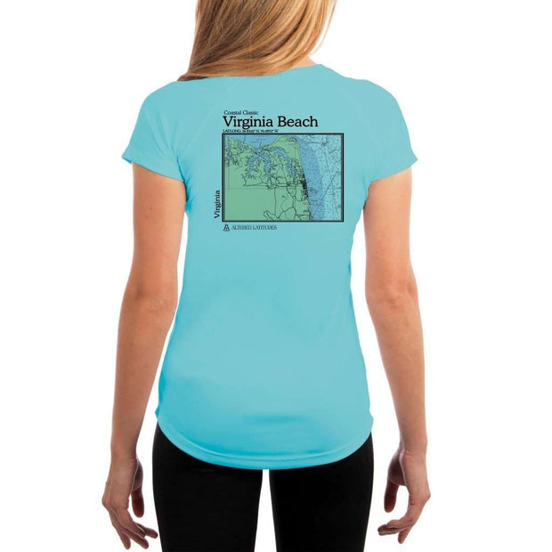 Coastal Classics Virginia Beach Womens Upf 5+ Uv/sun Protection Performance T-Shirt Water Blue / X-Small Shirt
