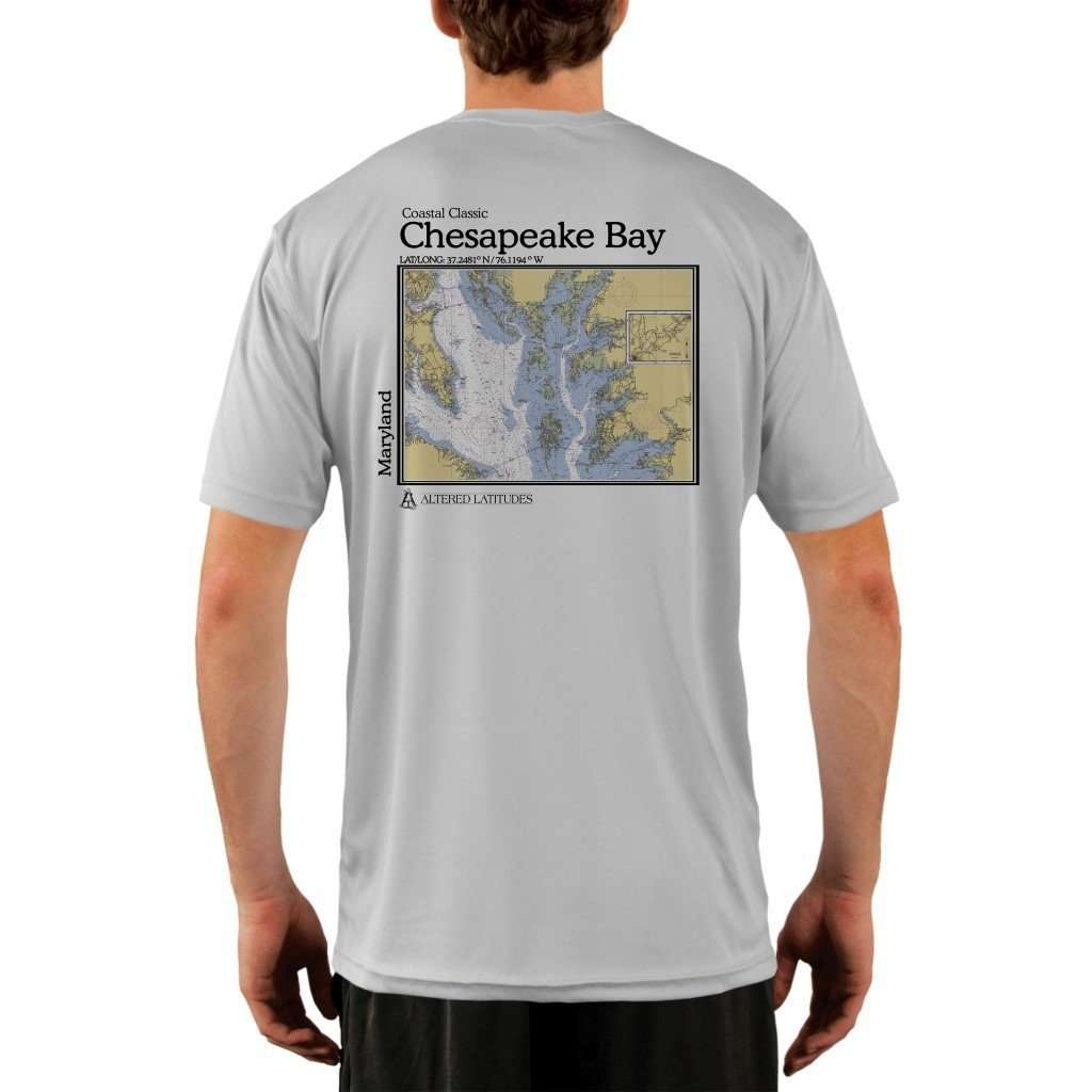 Coastal Classics Chesapeake Bay Mens Upf 50+ Uv/sun Protection Performance T-Shirt Pearl Grey / X-Small Shirt