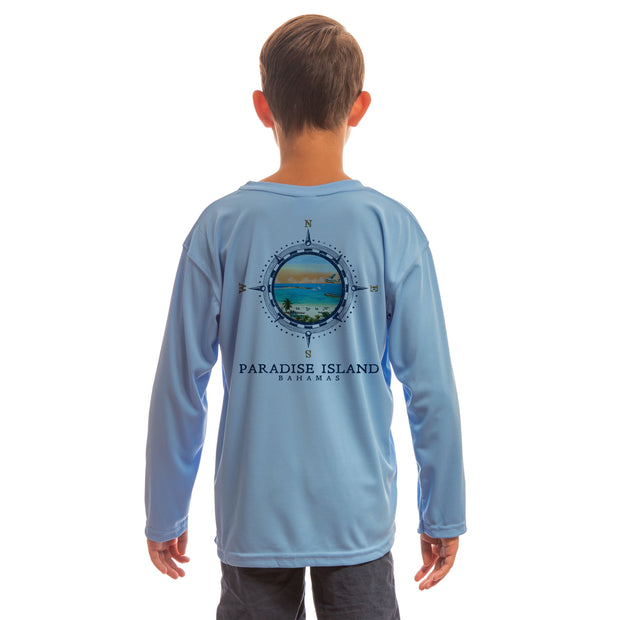 Compass Vintage Paradise Island Youth UPF 50+ UV/Sun Protection Long Sleeve T-Shirt