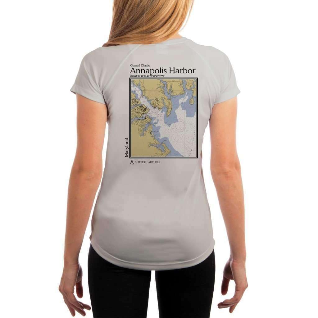 Coastal Classics Annapolis Harbor Womens Upf 50+ Uv/sun Protection Performance T-Shirt Pearl Grey / X-Small Shirt