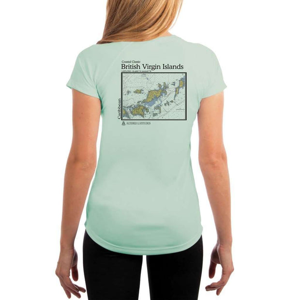 Coastal Classics British Virgin Islands Womens Upf 5+ Uv/sun Protection Performance T-Shirt Seagrass / X-Small Shirt