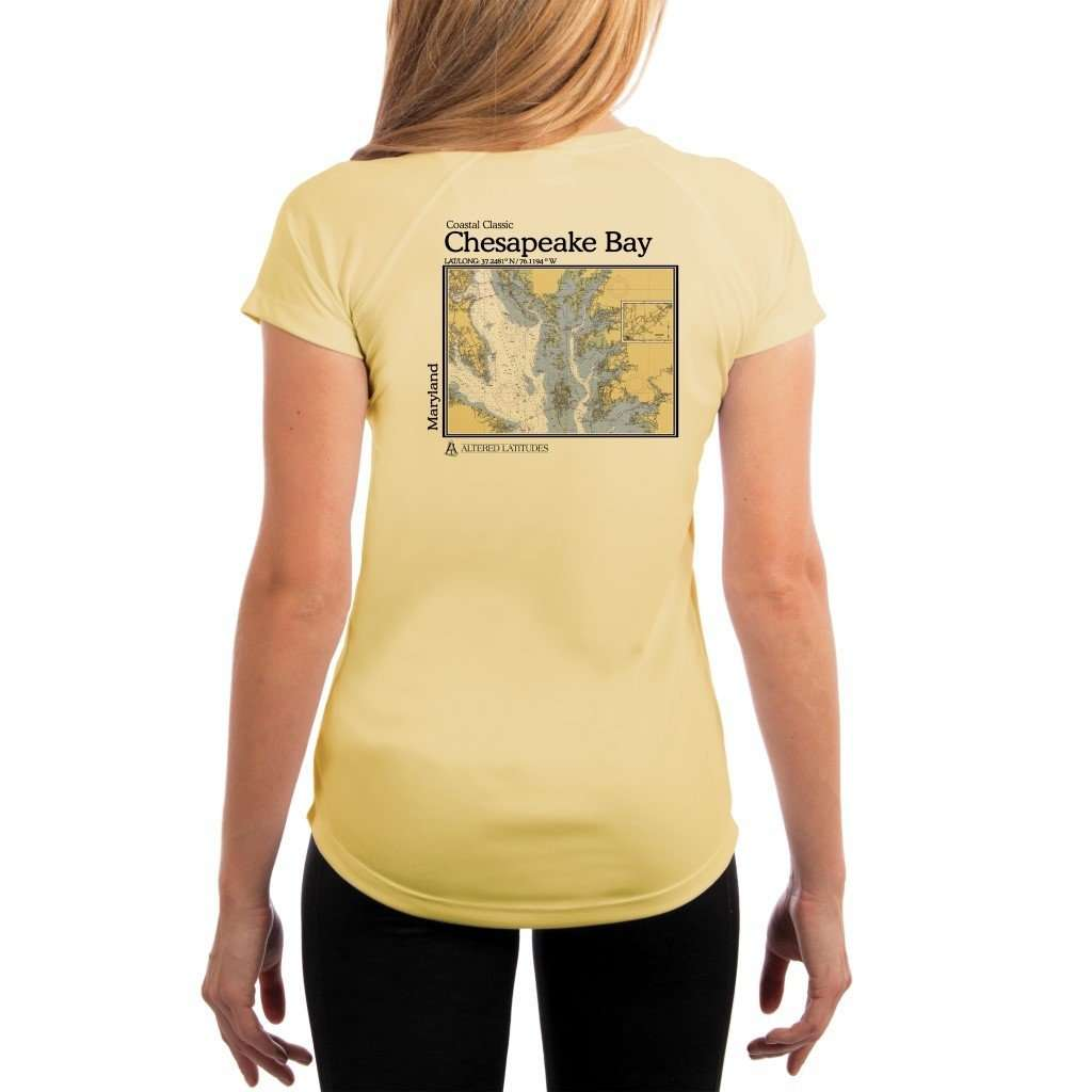 Coastal Classics Chesapeake Bay Womens Upf 50+ Uv/sun Protection Performance T-Shirt Pale Yellow / X-Small Shirt