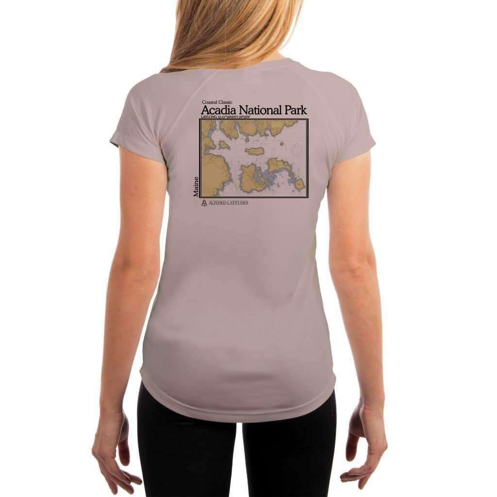 Coastal Classics Acadia National Park Womens Upf 50+ Uv/sun Protection Performance T-Shirt Athletic Grey / X-Small Shirt