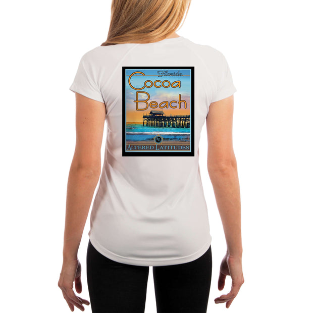 Vintage Destination Cocoa Beach Women's UPF 5+ UV Sun Protection Short Sleeve T-shirt - Altered Latitudes