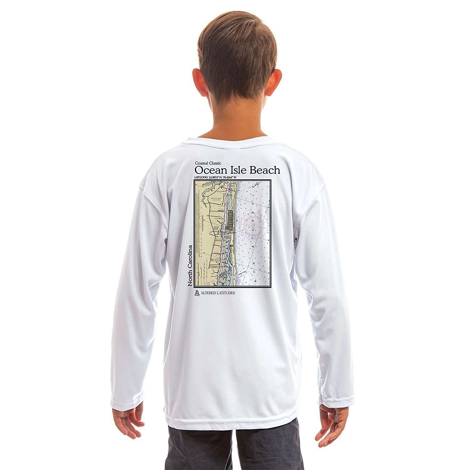 Altered Latitudes Coastal Classics Ocen Isle Beach Youth UPF 50+ UV/Sun Protection Long Sleeve T-Shirt