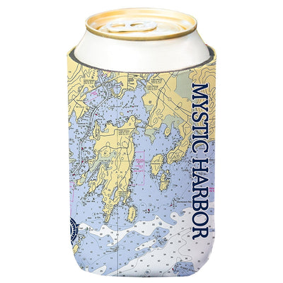 Altered Latitudes Mystic Harbor, CT Chart Standard Can Cooler (4-Pack)