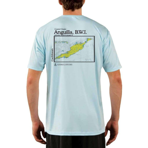 Coastal Classics Anguilla B.w.i. Mens Upf 5+ Uv/sun Protection Performance T-Shirt Arctic Blue / X-Small Shirt