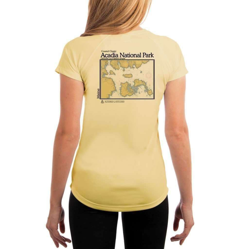 Coastal Classics Acadia National Park Womens Upf 50+ Uv/sun Protection Performance T-Shirt Pale Yellow / X-Small Shirt