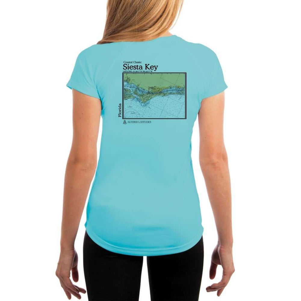 Coastal Classics Siesta Key Womens Upf 5+ Uv/sun Protection Performance T-Shirt Water Blue / X-Small Shirt
