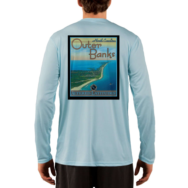 Vintage Destination Outer Banks Men's UPF 50+ UV Sun Protection Long Sleeve T-Shirt