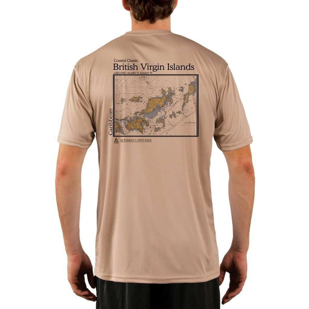 Coastal Classics British Virgin Islands Mens Upf 5+ Uv/sun Protection Performance T-Shirt Tan / X-Small Shirt