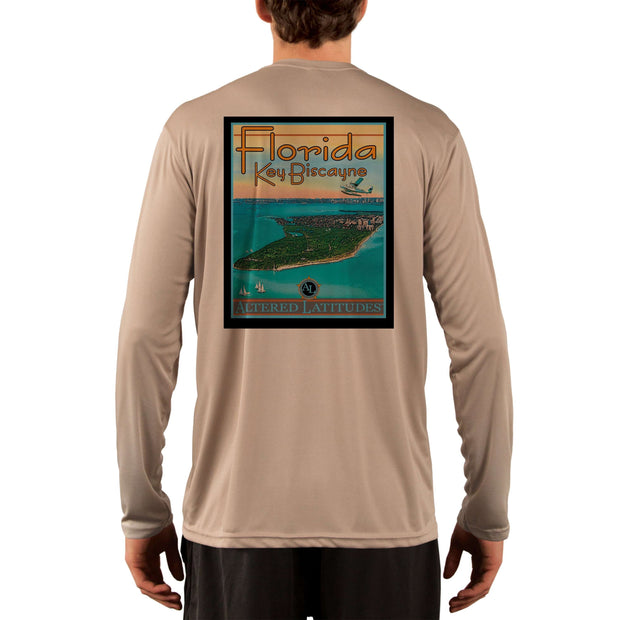 Vintage Destination Key Biscayne Men's UPF 5+ UV Sun Protection Long Sleeve T-Shirt - Altered Latitudes