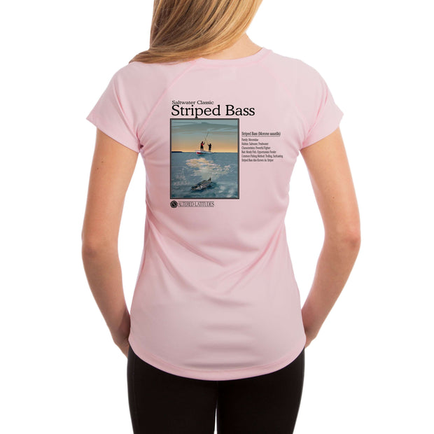 Saltwater Classic Striped Bass Women's UPF 50+ UV/Sun Protection Short Sleeve T-Shirt