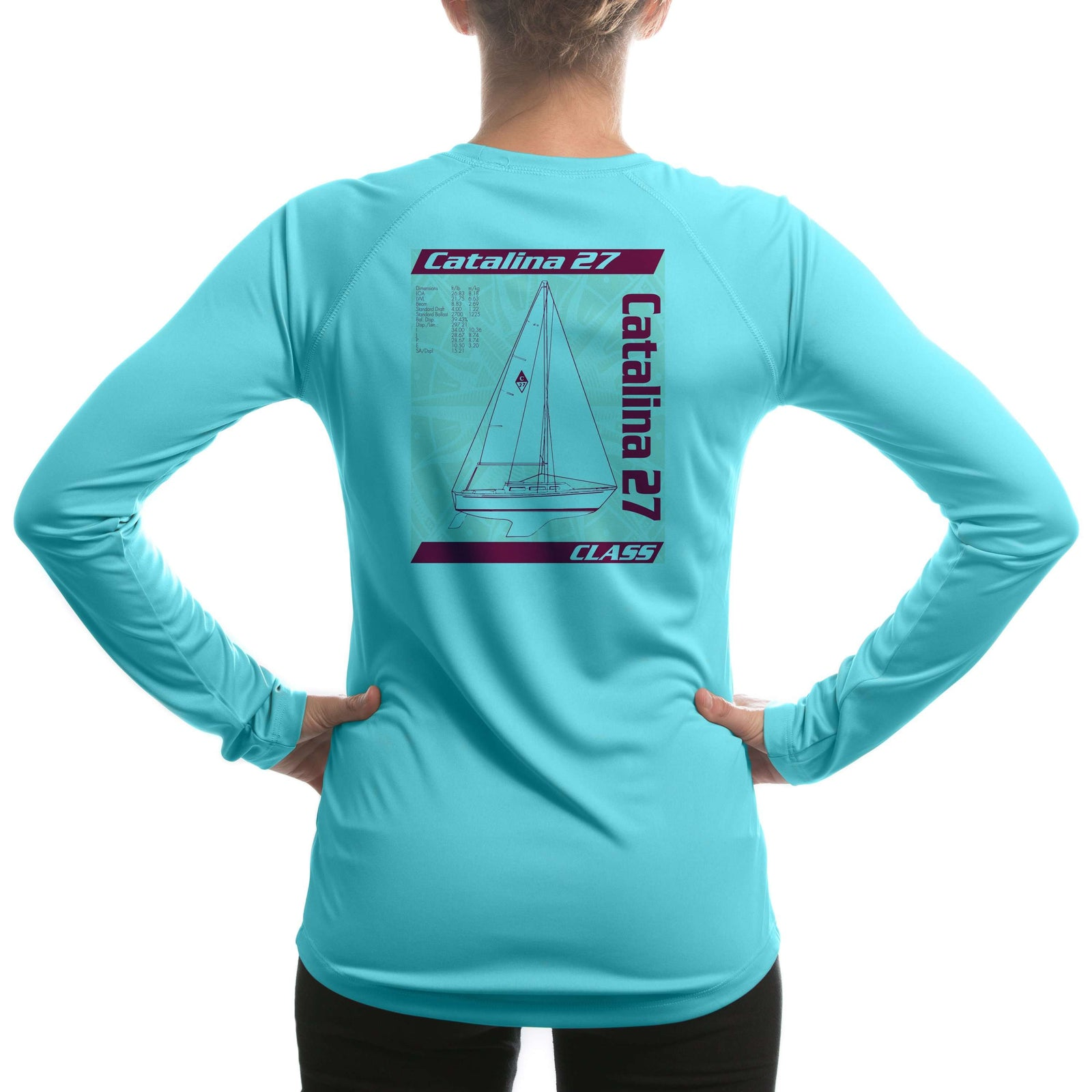 Catalina 27 Class Sailboat Women's UPF 50+ UV Sun Protection Long Sleeve T-shirt - Altered Latitudes