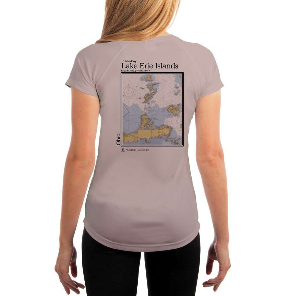 Coastal Classics Lake Erie Islands Womens Upf 5+ Uv/sun Protection Performance T-Shirt Athletic Grey / X-Small Shirt