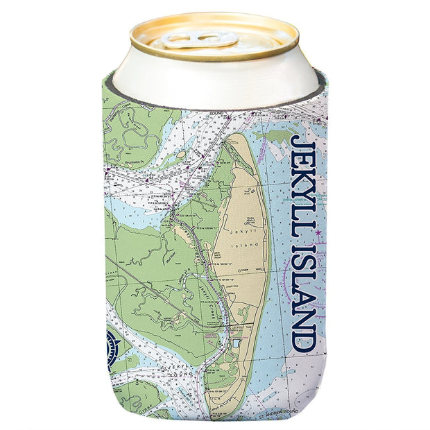 Altered Latitudes Jekyll Island Chart Standard Can Cooler (4-Pack)