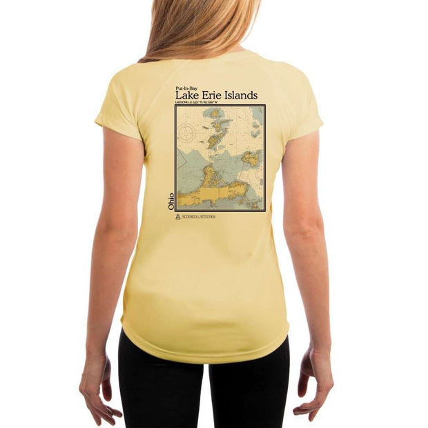 Coastal Classics Lake Erie Islands Womens Upf 5+ Uv/sun Protection Performance T-Shirt Pale Yellow / X-Small Shirt