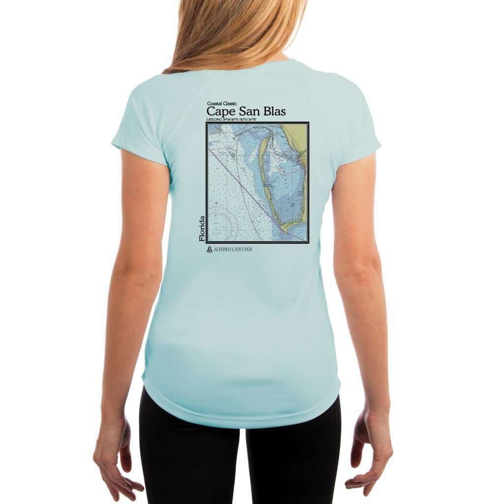 Coastal Classics Cape San Blas Womens Upf 50+ Uv/sun Protection Performance T-Shirt Arctic Blue / X-Small Shirt