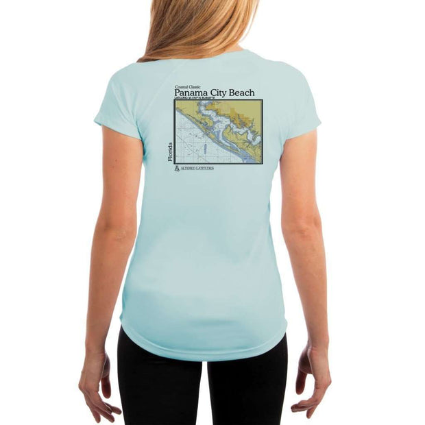 Coastal Classics Panama City Beach Womens Upf 5+ Uv/sun Protection Performance T-Shirt Arctic Blue / X-Small Shirt
