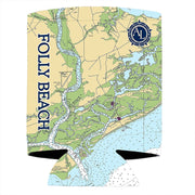Altered Latitudes Folly Beach Chart Standard Can Cooler (4-Pack)