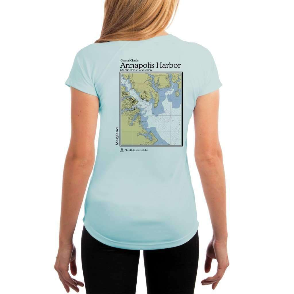 Coastal Classics Annapolis Harbor Womens Upf 50+ Uv/sun Protection Performance T-Shirt Arctic Blue / X-Small Shirt