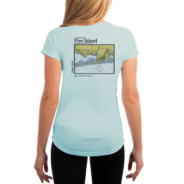 Coastal Classics Fire Island Womens Upf 5+ Uv/sun Protection Performance T-Shirt Arctic Blue / X-Small Shirt