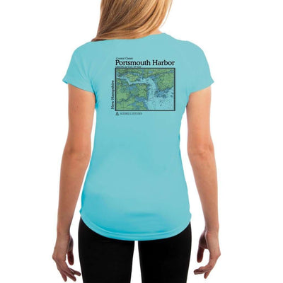 Coastal Classics Portsmouth Harbor Womens Upf 5+ Uv/sun Protection Performance T-Shirt Water Blue / X-Small Shirt
