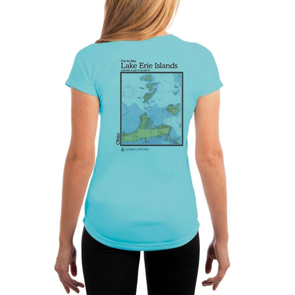 Coastal Classics Lake Erie Islands Womens Upf 5+ Uv/sun Protection Performance T-Shirt Water Blue / X-Small Shirt