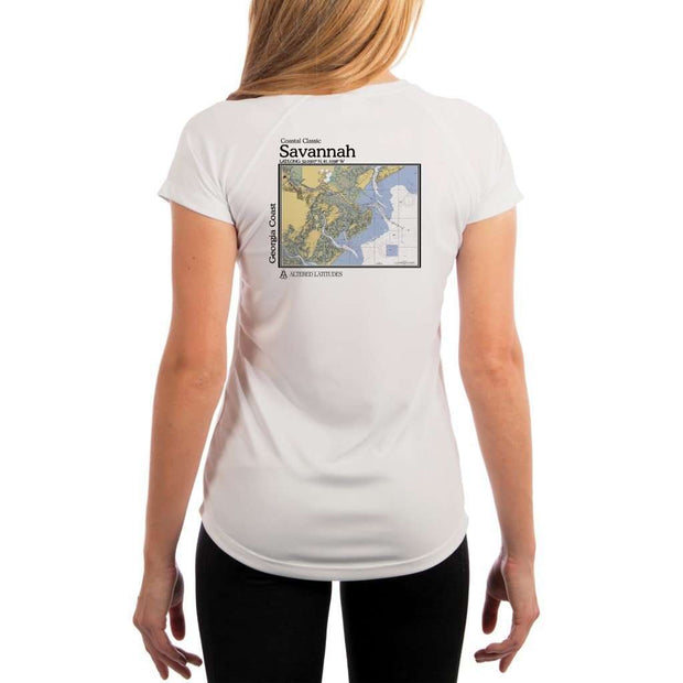 Coastal Classics Savannah Georgia Coast Womens Upf 5+ Uv/sun Protection Performance T-Shirt White / X-Small Shirt