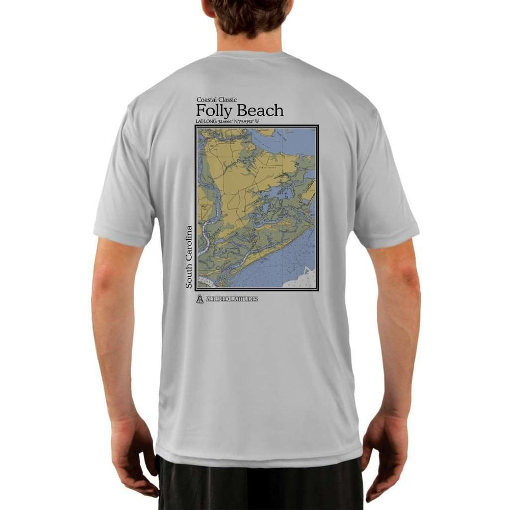Coastal Classics Folly Beach Mens Upf 5+ Uv/sun Protection Performance T-Shirt Pearl Grey / X-Small Shirt