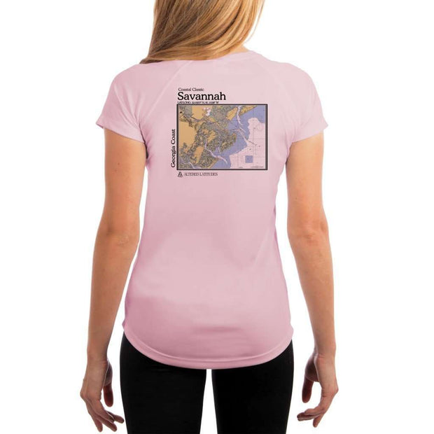 Coastal Classics Savannah Georgia Coast Womens Upf 5+ Uv/sun Protection Performance T-Shirt Pink Blossom / X-Small Shirt