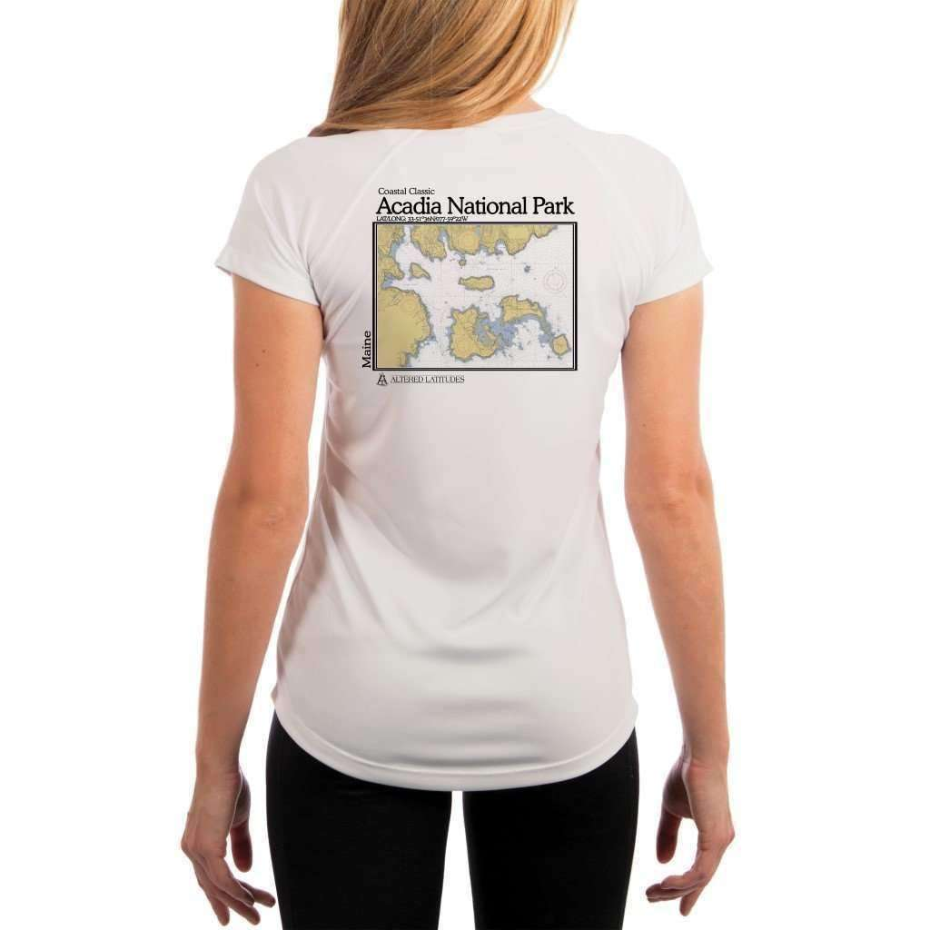 Coastal Classics Acadia National Park Womens Upf 50+ Uv/sun Protection Performance T-Shirt White / X-Small Shirt