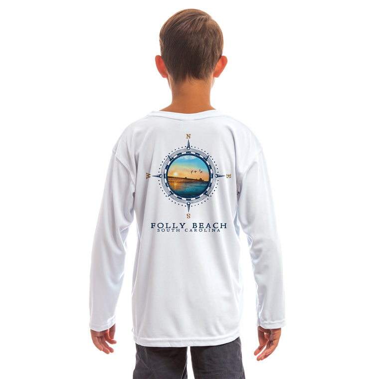 Compass Vintage Folly Beach Youth UPF 50+ UV/Sun Protection Long Sleeve T-Shirt