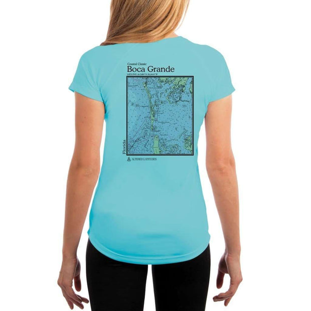 Coastal Classics Boca Grande Womens Upf 5+ Uv/sun Protection Performance T-Shirt Water Blue / X-Small Shirt