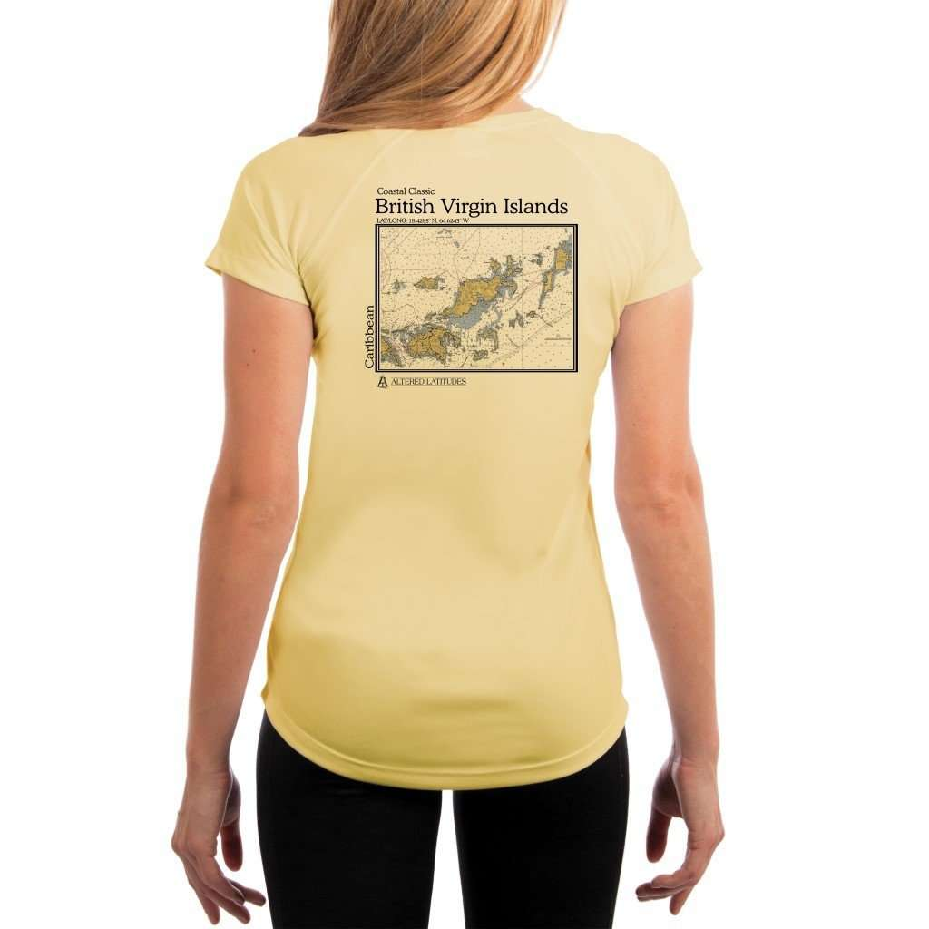 Coastal Classics British Virgin Islands Womens Upf 50+ Uv/sun Protection Performance T-Shirt Pale Yellow / X-Small Shirt