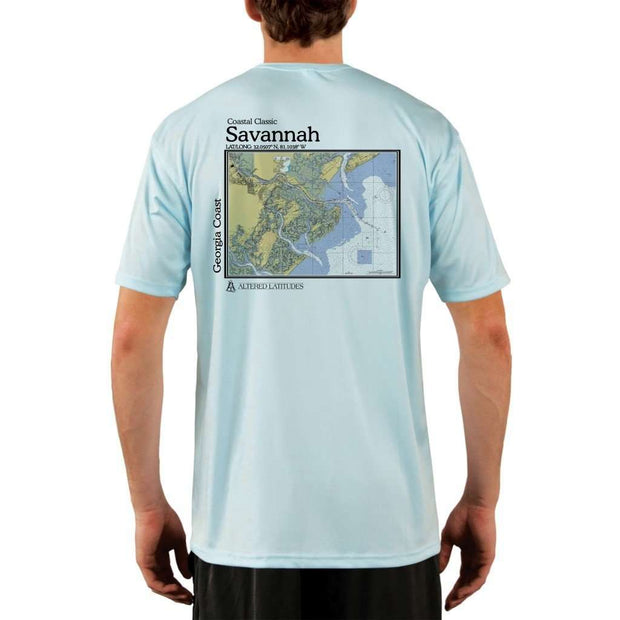 Coastal Classics Savannah Georgia Coast Mens Upf 5+ Uv/sun Protection Performance T-Shirt Arctic Blue / X-Small Shirt