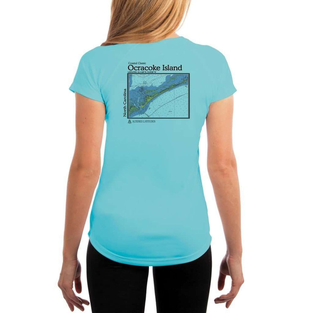 Coastal Classics Ocracoke Island Womens Upf 5+ Uv/sun Protection Performance T-Shirt Water Blue / X-Small Shirt
