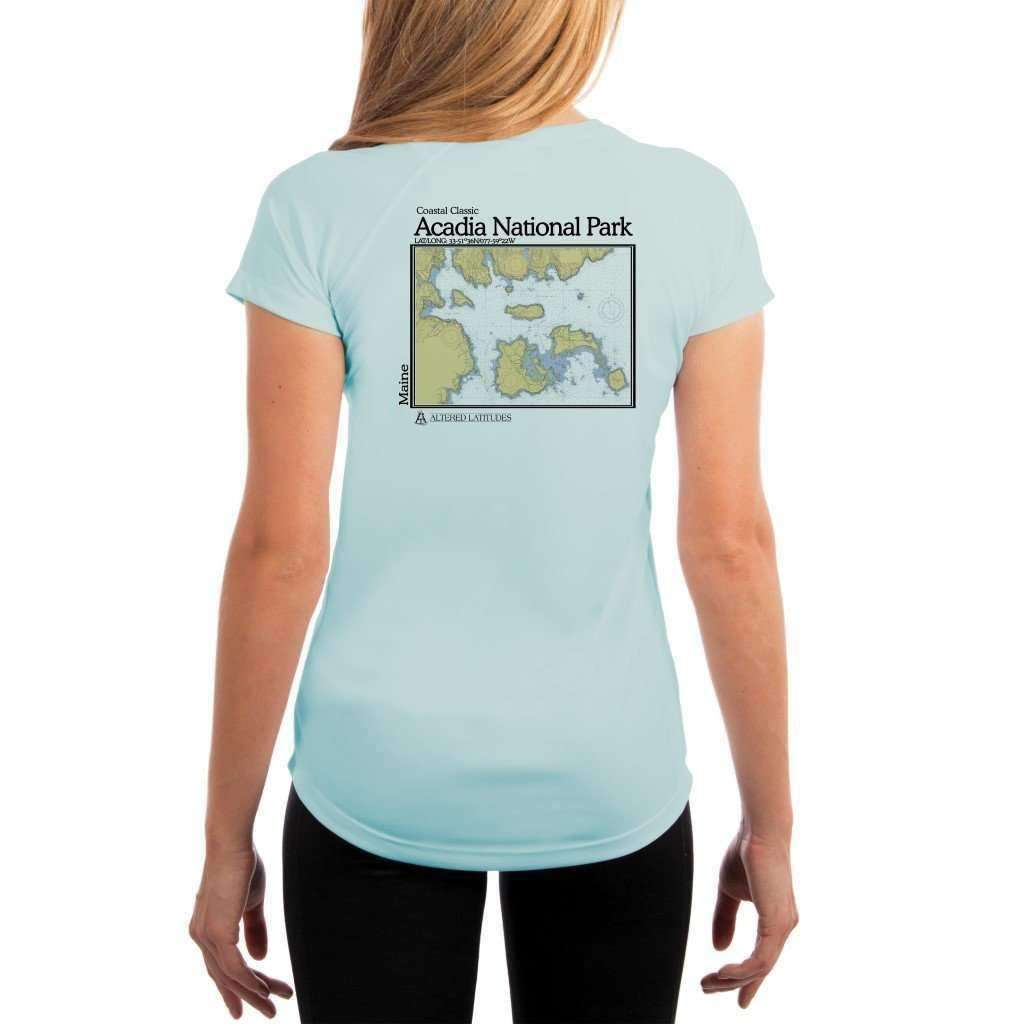 Coastal Classics Acadia National Park Womens Upf 50+ Uv/sun Protection Performance T-Shirt Arctic Blue / X-Small Shirt